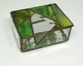 Green Abstract Stained Glass Box, Earthy green Jewelry box, birthday gift, bat mitzvah gift, geometric stained glass, geometric glass box