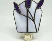 Purple Stained Glass Electric Night Light, flower night light, housewarming gift, baby gift, lavender night light, stained glass light
