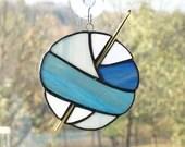 Stained Glass Ball of Yarn, Yarn Balls, Stained Glass Sun Catcher, Crochet sun catcher, gift for crocheter, denim blue glass, fiber art