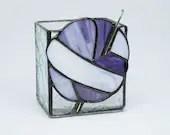 Stained Glass box, Crochet Hook Vase,Stained Glass Vase, purple stained glass, fiber tool storage, fiber artist, knit glass, crochet vase