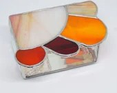 Stained Glass Box, Contemporary Stained Glass, Red Orange Stained Glass Jewelry Box, Stained Glass Trinket Box, Glass Jewelry Box, Sunshine