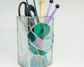 Stained Glass box, Vintage Knitting Needles, Knitting needle Vase, Turquoise yarn, teal stained glass, gift for knitter, knit glass balls
