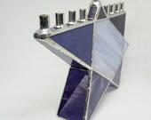 Stained Glass Chanukah Menorah, Purple Star of David, Purple Hanukkah Menorah, Iridescent Purple, Hanukiah, Wedding Gift, Judaica, lavender