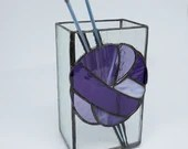 Purple Stained Glass box, Vintage Knitting Needles, Knitting needle Vase, ombre yarn, purple stained glass, gift for knitter, ball of yarn