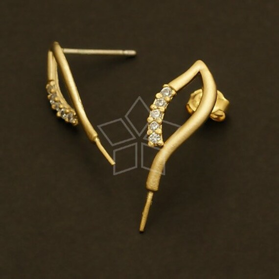 SI 418 MG 2 Pcs Blaze Peg Earring Findings Matte Gold