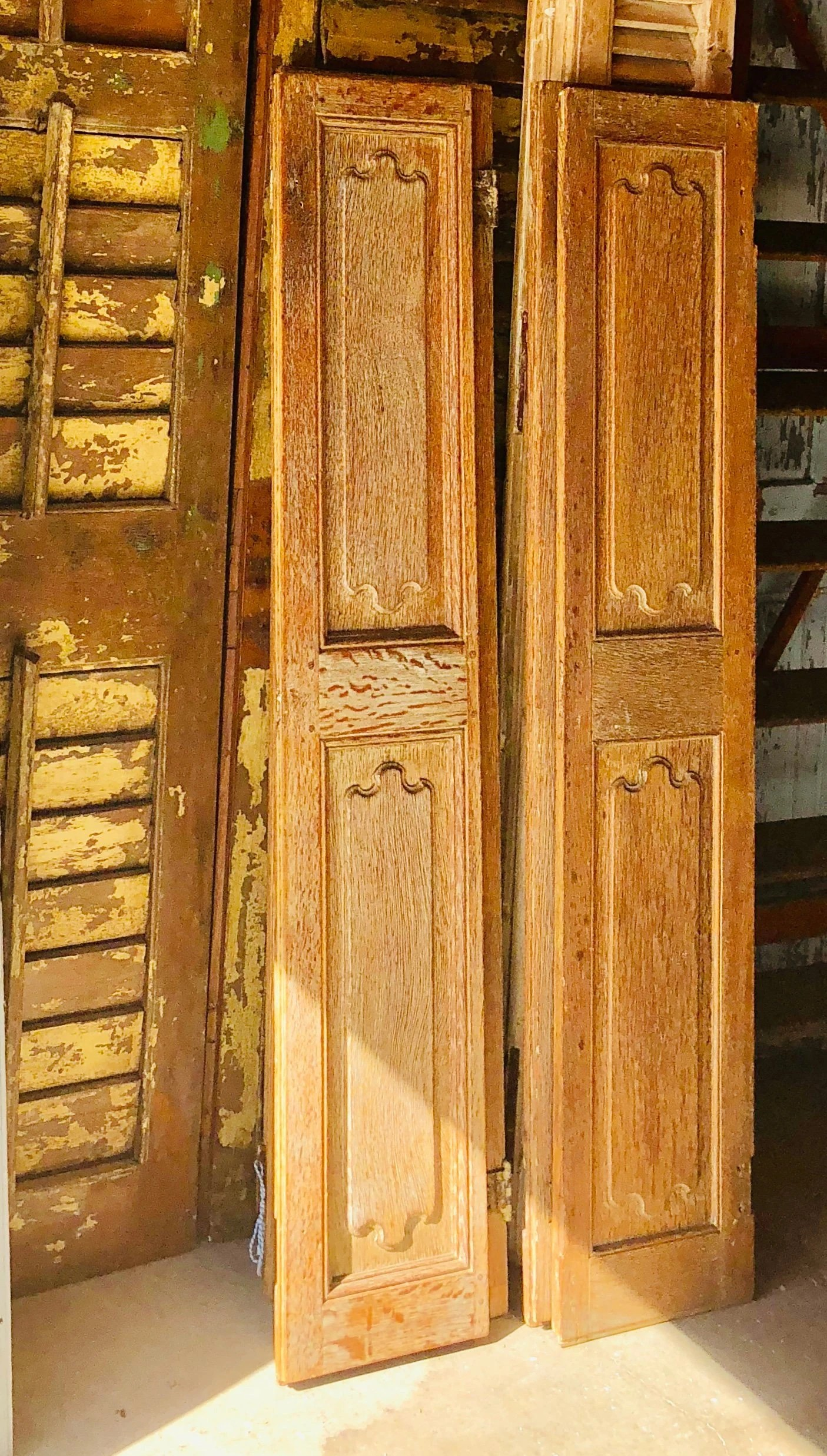 Pair Of 18th Century French Wooden Shutters Antique 18th Century French Interior Doors Shutters Hand Carved French Doors Hand Carved