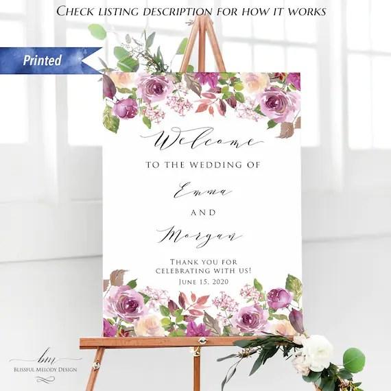 printed lilac purple floral wedding