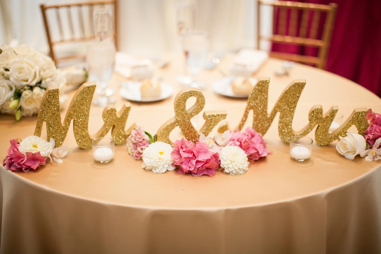 Gold Glitter Mr And Mrs Signs Wedding Sweetheart Table