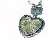 Large Sterling silver glass heart  bezel pendant (P-LGHB)