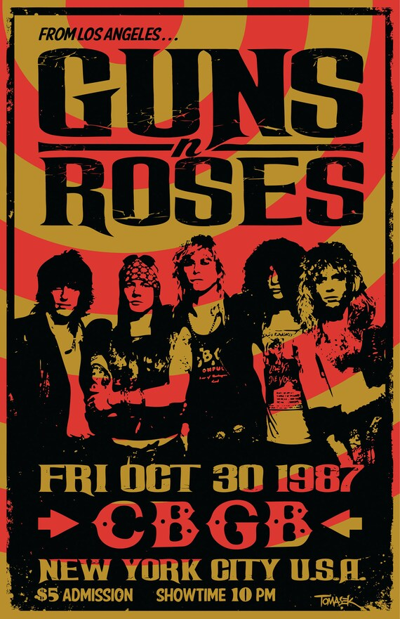 guns n roses 1987 konzert poster