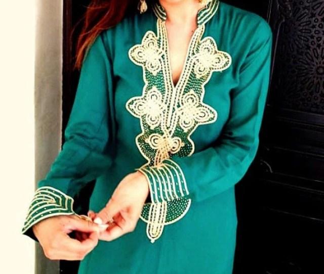 Kaftan Emerald Green Caftan Wedding Aisha Style For Brides Gifts Bridesmaids Gifts Beach Weddings Caftans Valentines Daywinter Sale