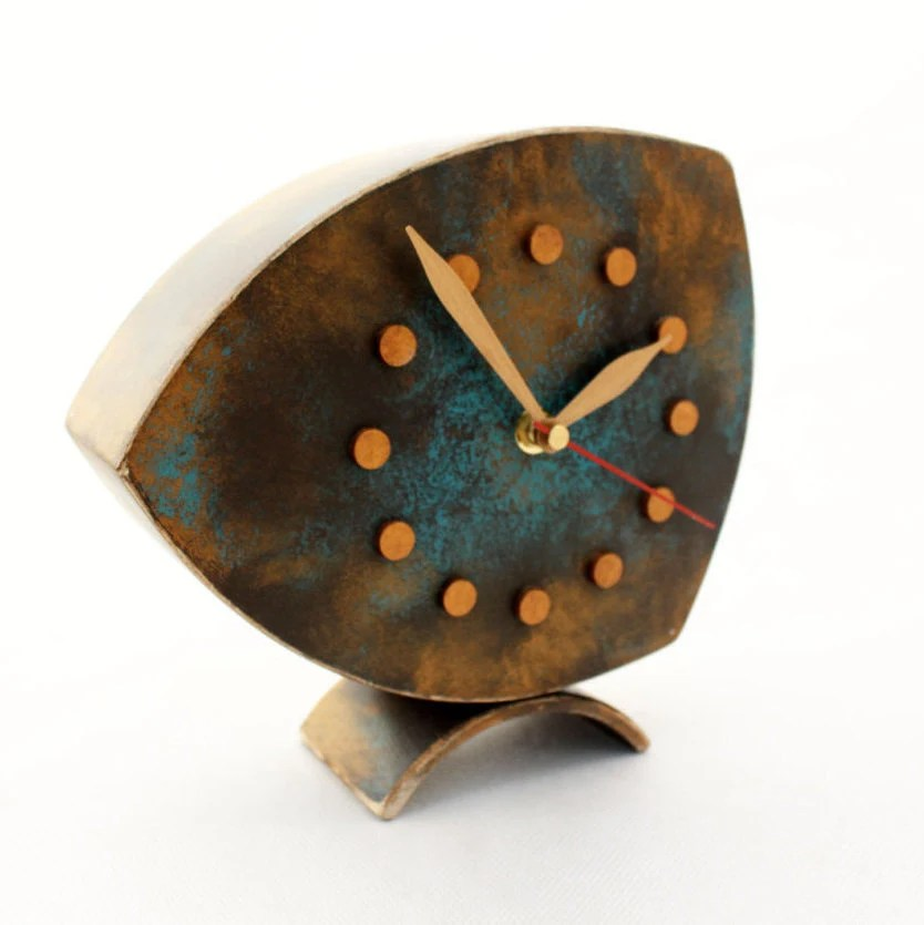 desk clock gold turquoise brown table