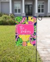 Bright Summer Garden Flag Design Flamingo Fruit Etsy