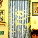 Vintage Deadstock Bead Door Curtain Nos 70s Fringe Doorway Room Divider Panda Leaves Natural Organic Boho Gypsy Hippie Chic