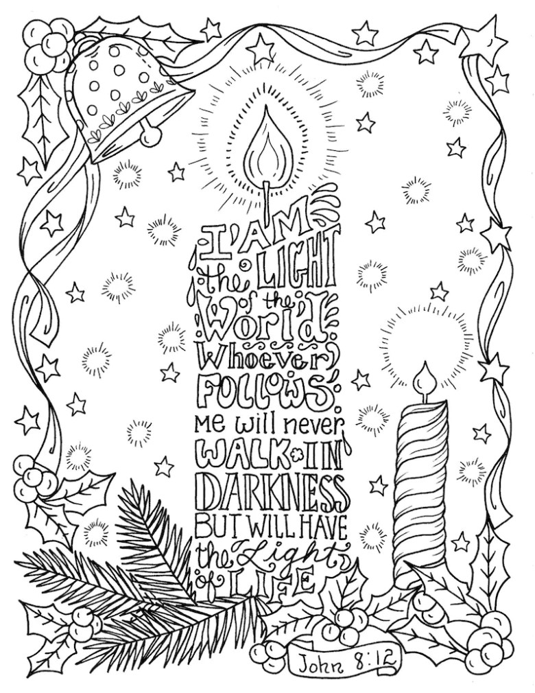 christmas candle coloring page christian scripture color book pages