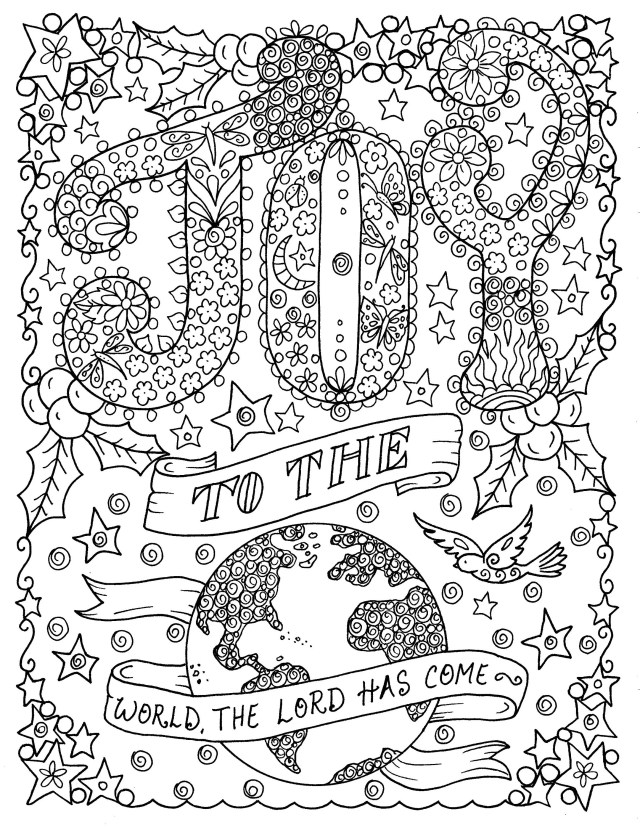 Joy to the World, Printable coloring page, church, Christian, coloring  book, coloring pages, digital coloring
