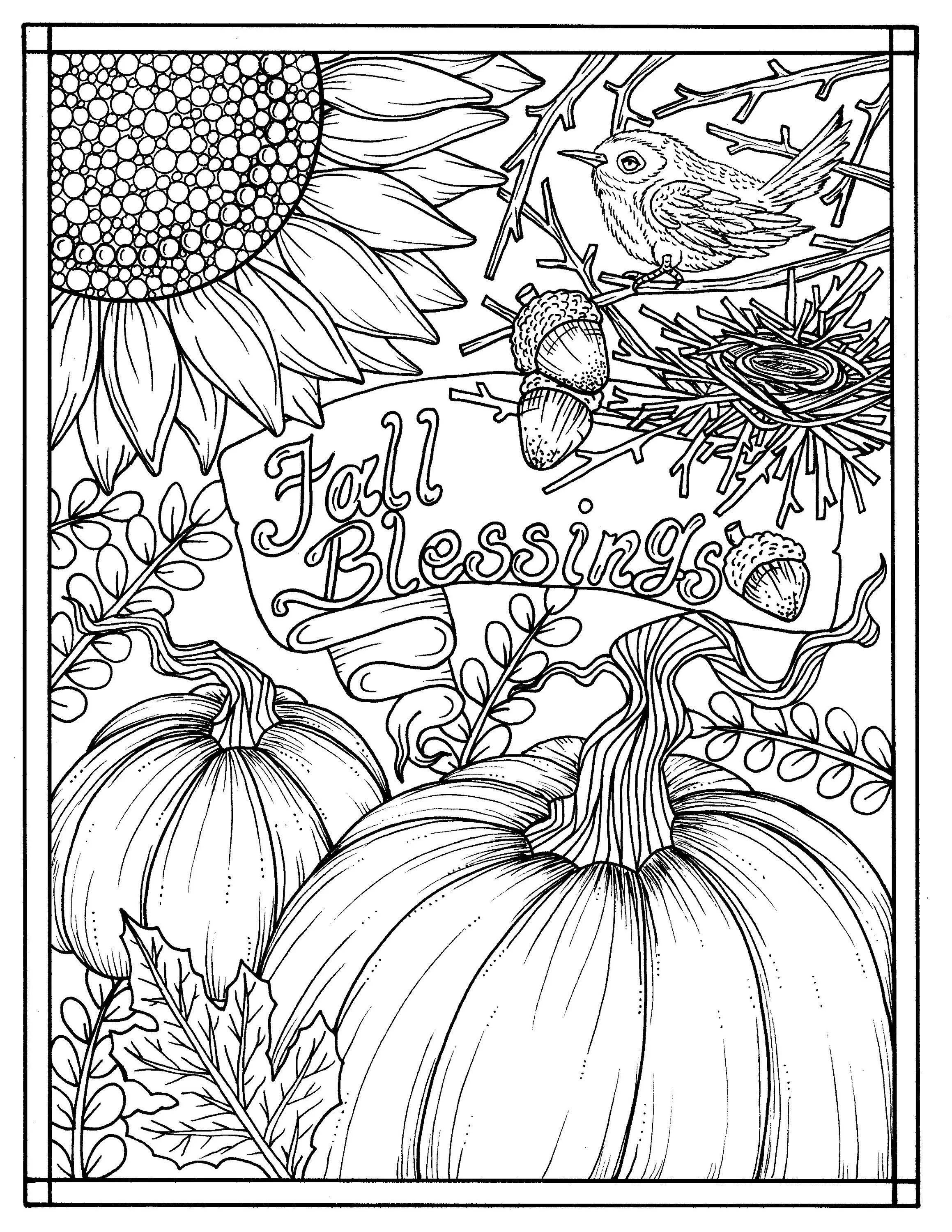 Download Fall Blessings Instant Digital Coloring Page Autumn