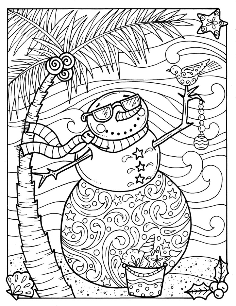 tropical snowman coloring page adult coloring beach holidays coloring books
