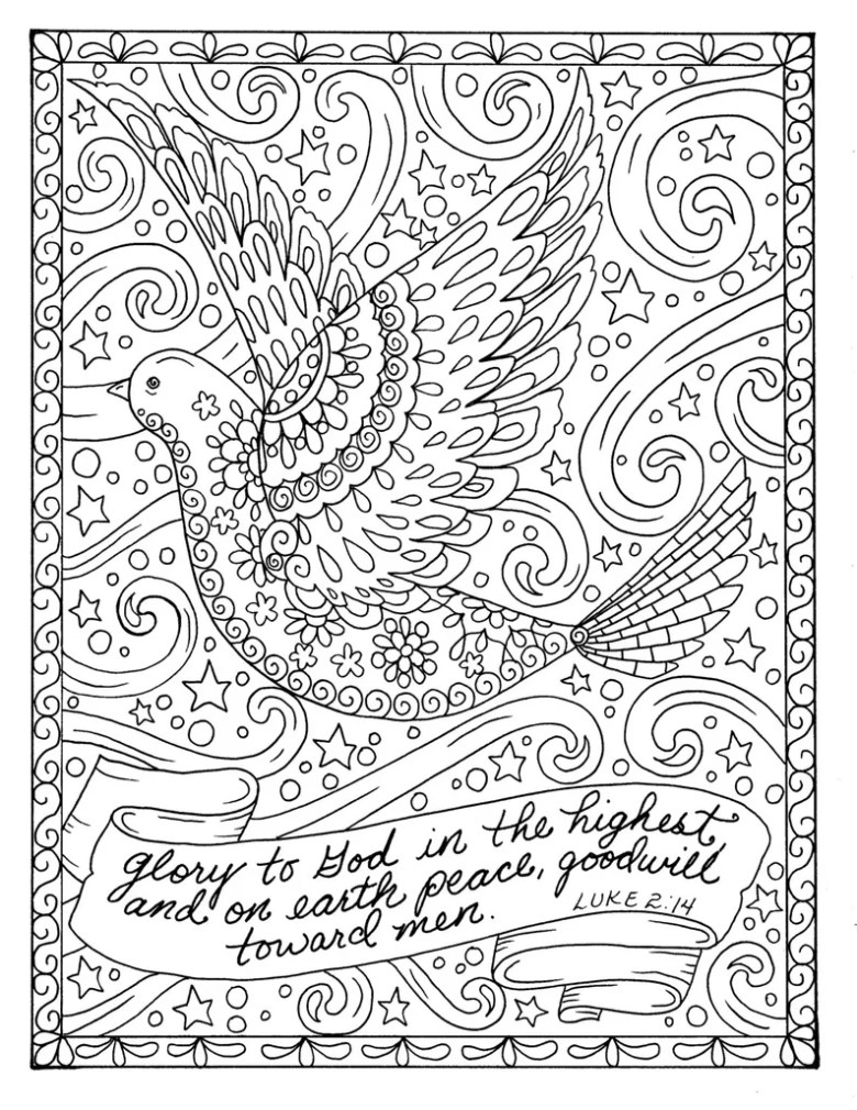 christmas coloring page dove christian scripture adult digi | etsy