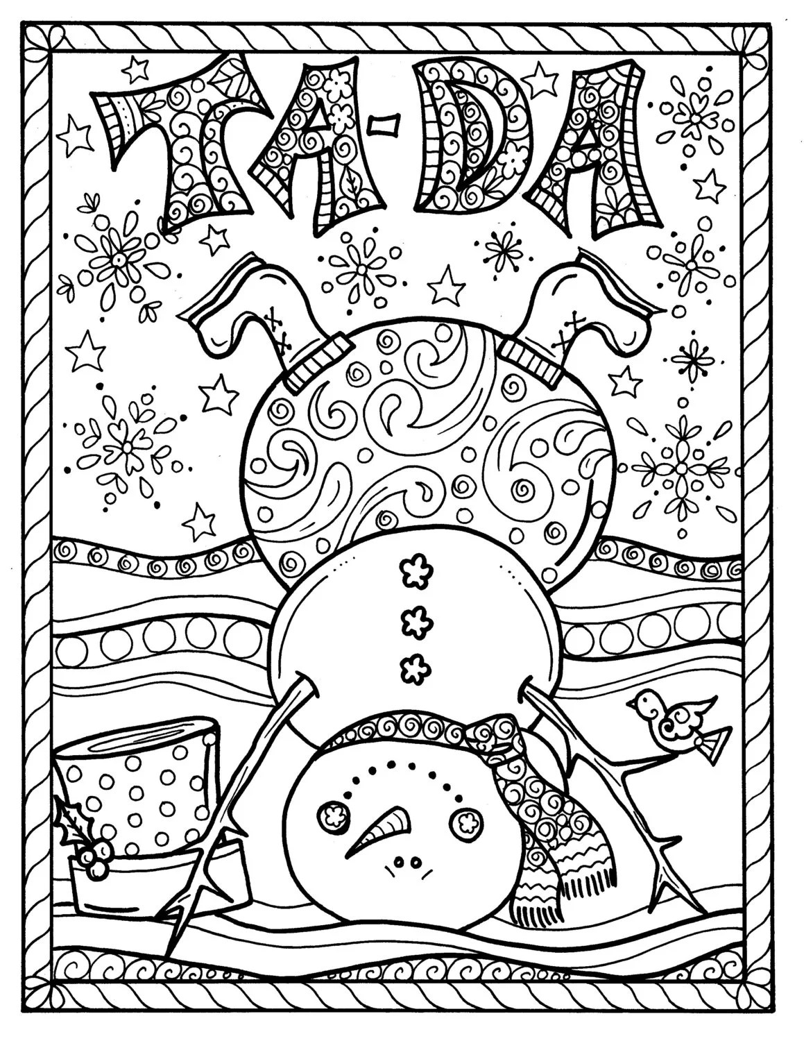 Snowman Christmas Instant Download Coloring Page Adult