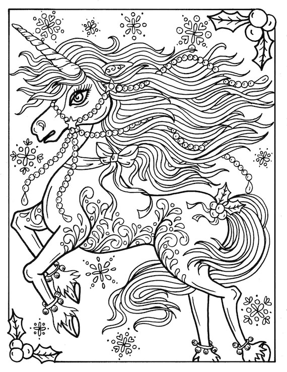 Christmas Unicorn Adult Coloring page Coloring book ...   free printable coloring pages for adults unicorns