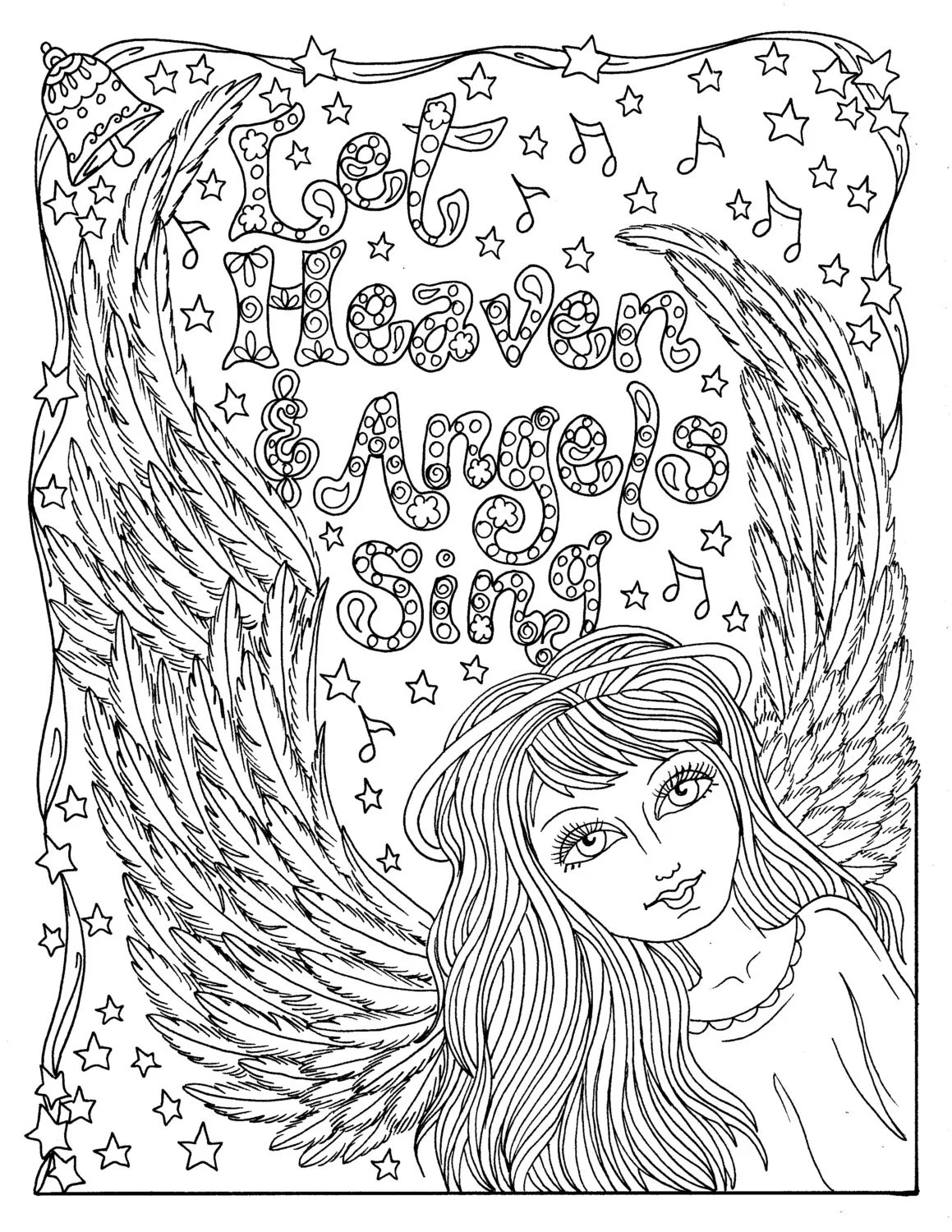 Christmas Angel Instant Download Coloring Page Christian