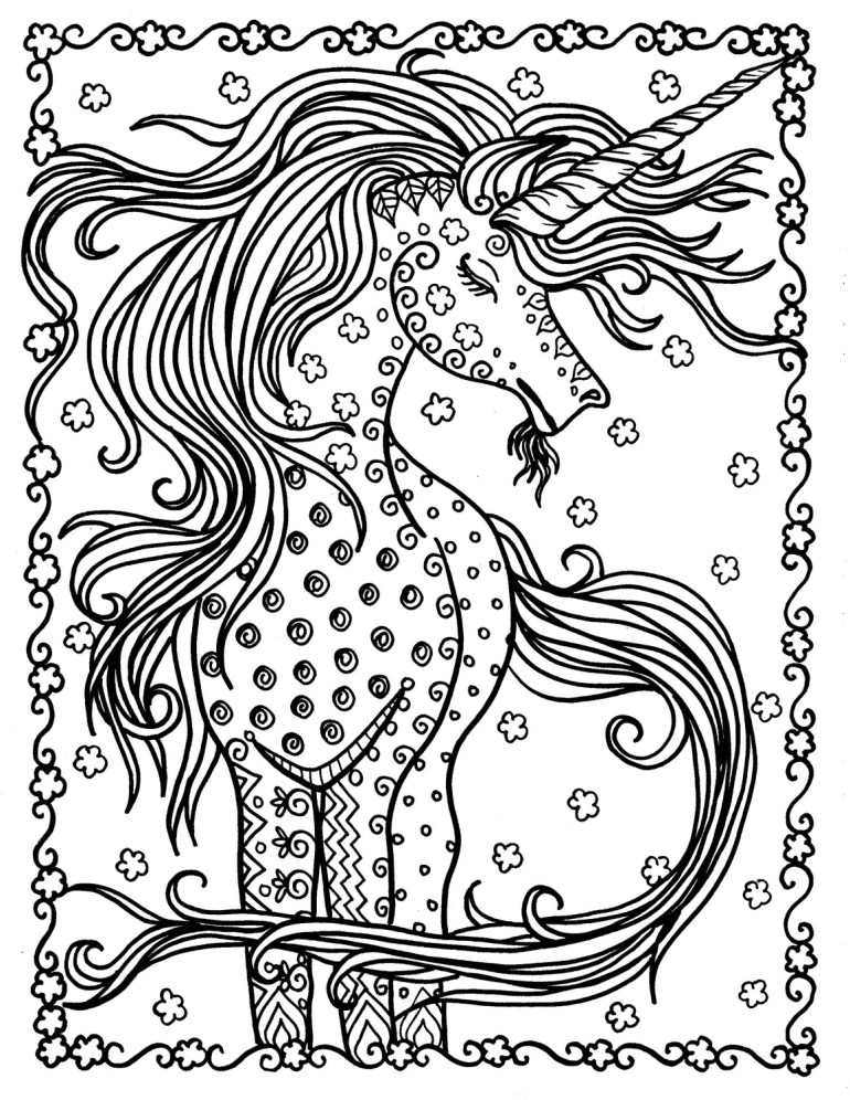Unicorn Instant Download Fantasy Coloring Pages Adult ...   free printable coloring pages for adults unicorns