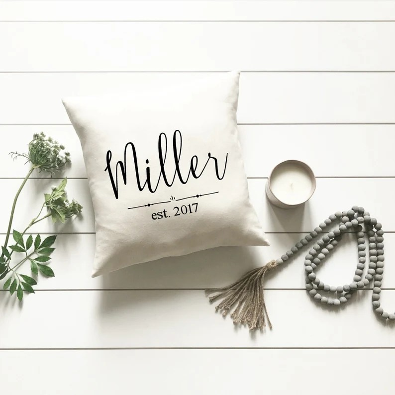 2nd anniversary gift personalized wedding date pillow cover image 4