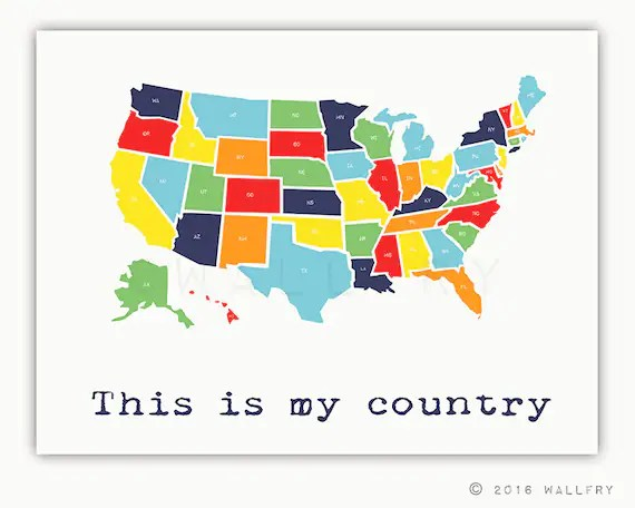 Kids maps educate and engage. Usa Map Nursery Decor Us Map For Kids Playroom Decor World Etsy
