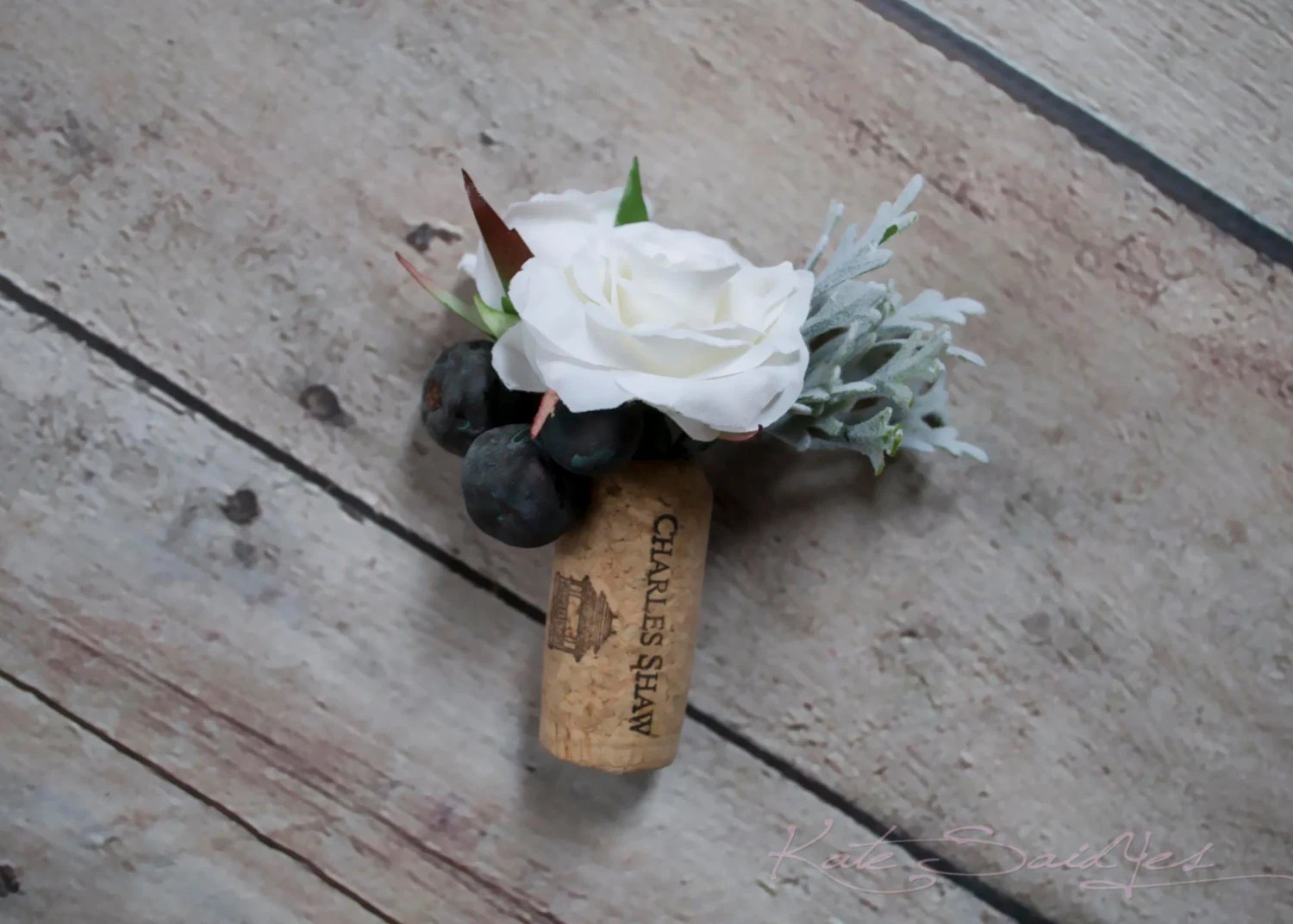 Wine Cork Boutonniere White Rose And Berry Wedding