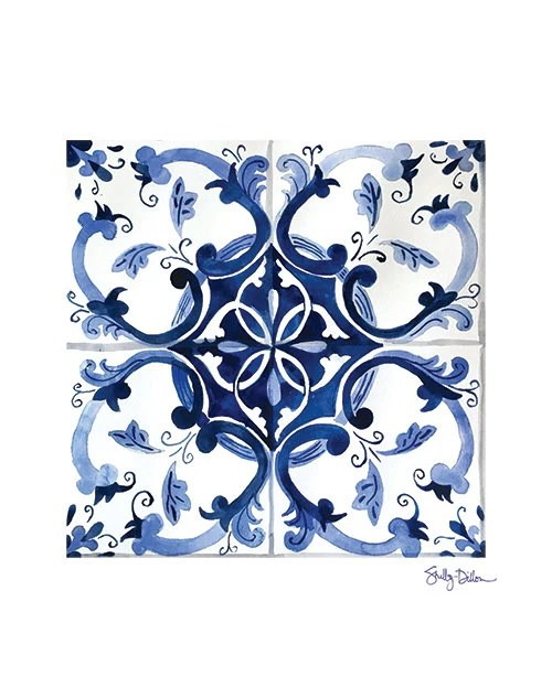 blue talavera print moroccan tile art tile wall art blue etsy