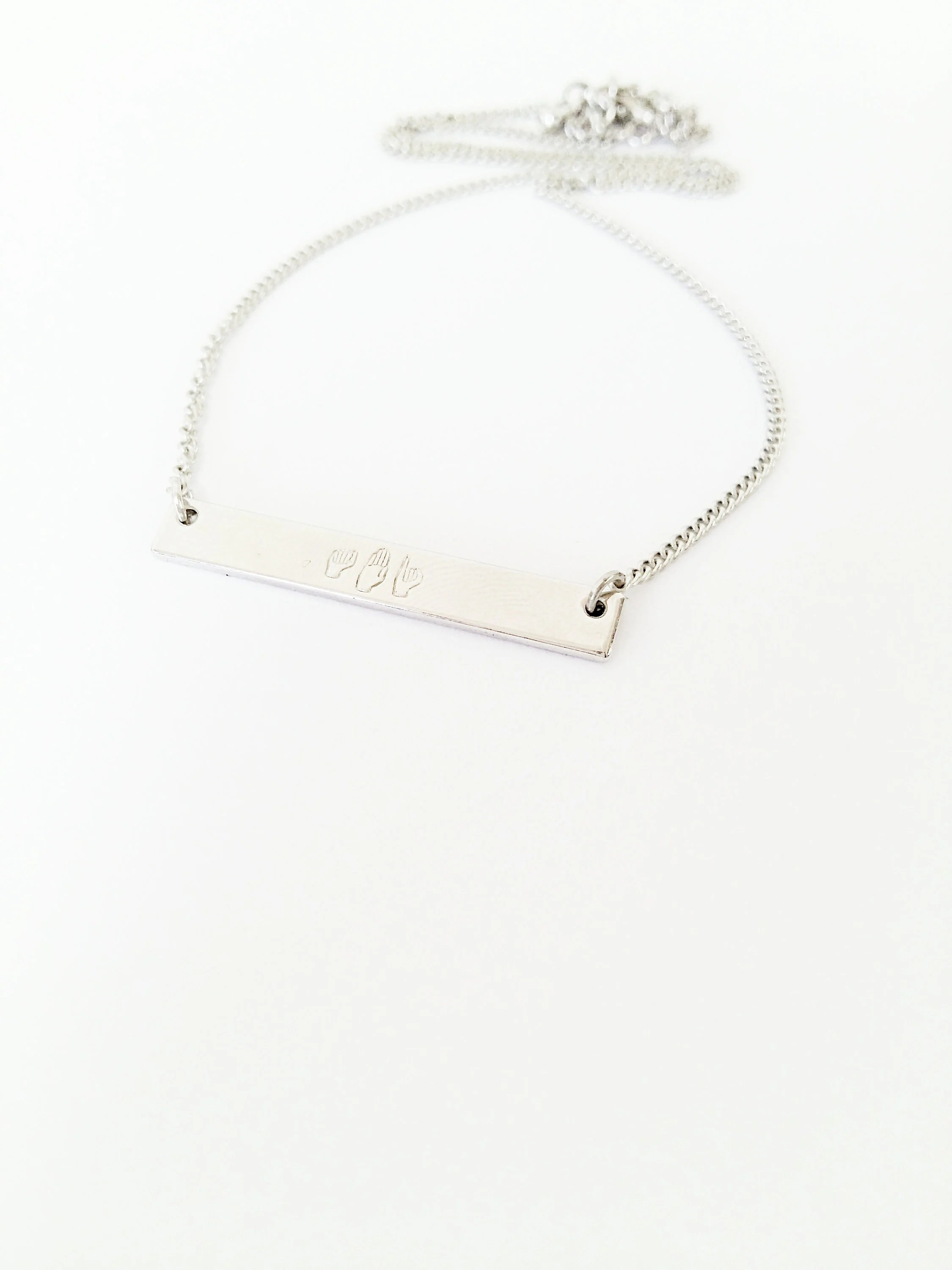 Personalized Name Necklace in Sign Language Bar Necklace // image 6