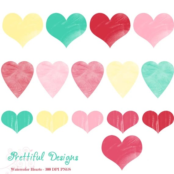 Watercolor Hearts Clipart Valentine Heart Clip Art By Prettiful Designs Catch My Party