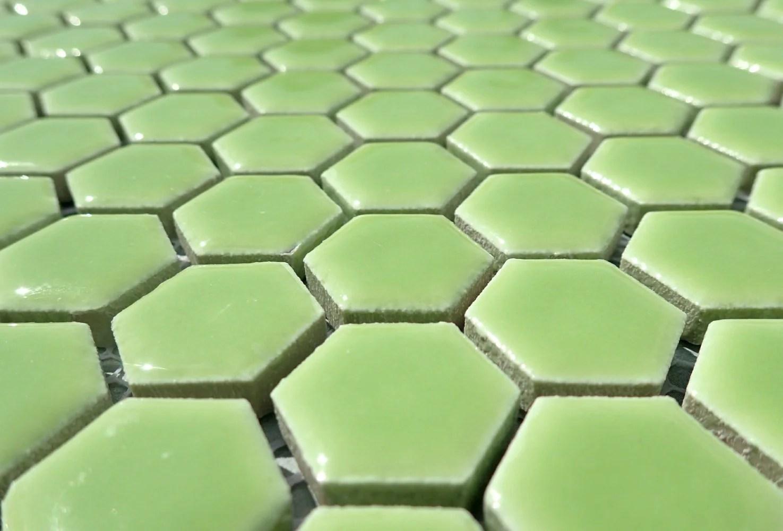 electric lime green hexagon mosaic