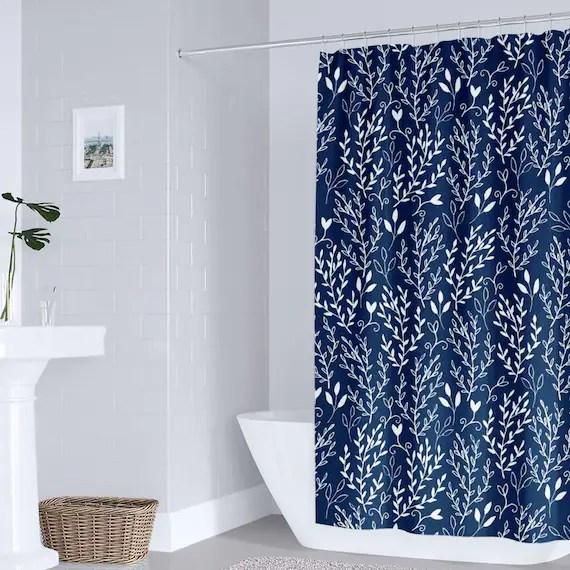 navy floral shower curtain blue white bathroom decor navy leaves shower curtain bathroom decor shower curtain beach bath