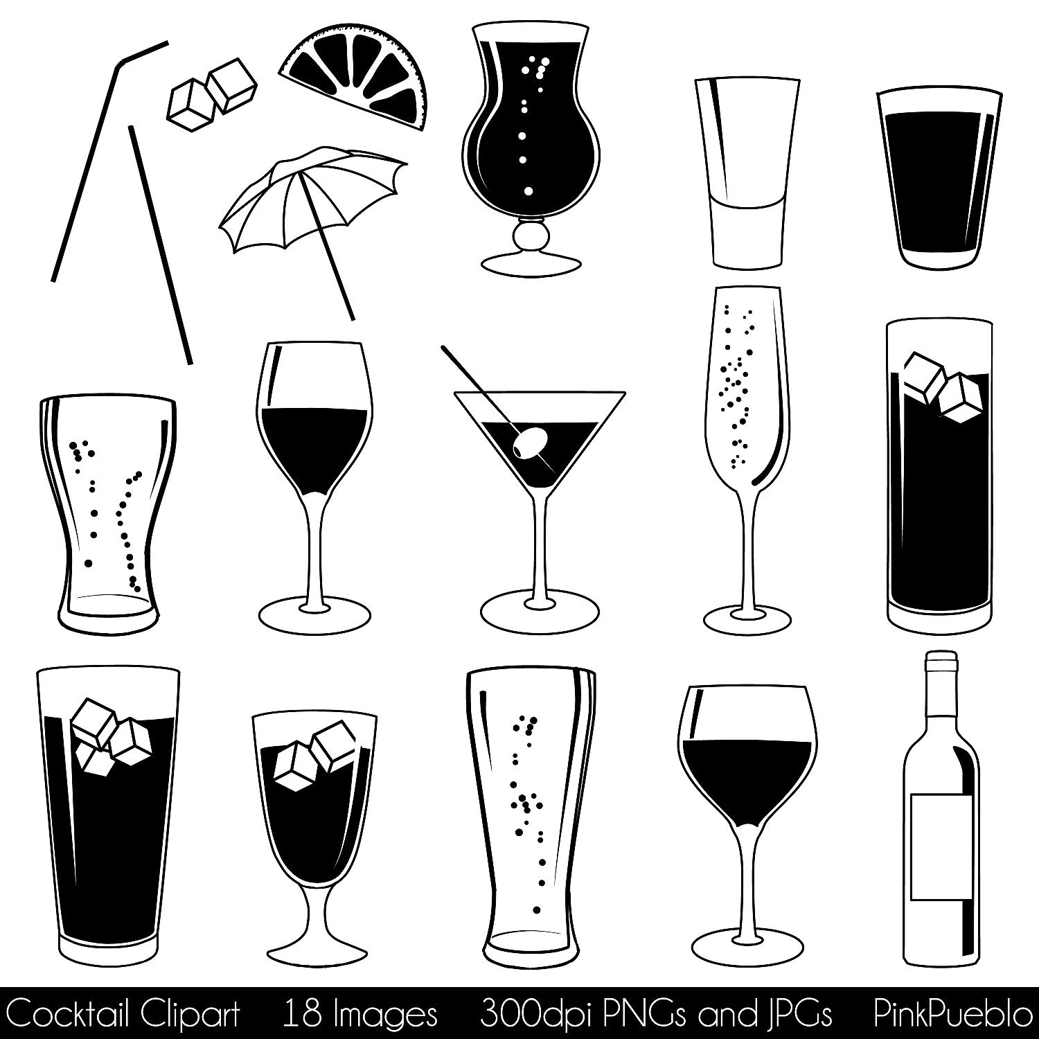 Cocktail Clipart Clip Art With Wine Beer Champagne Martini