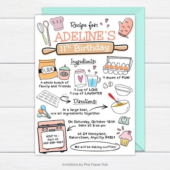 baking birthday party invitation