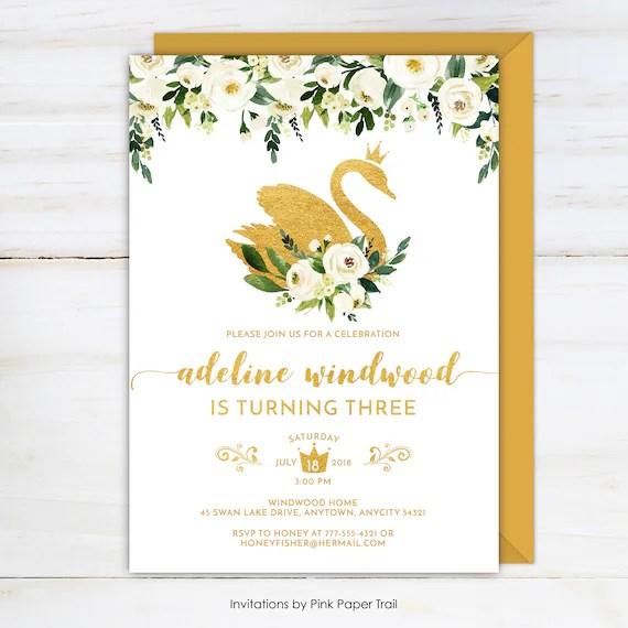 swan birthday invitation gold swan and