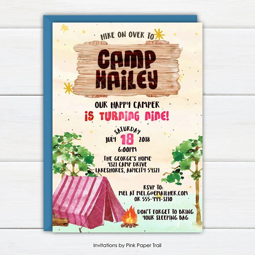 girls camping party invitation camp