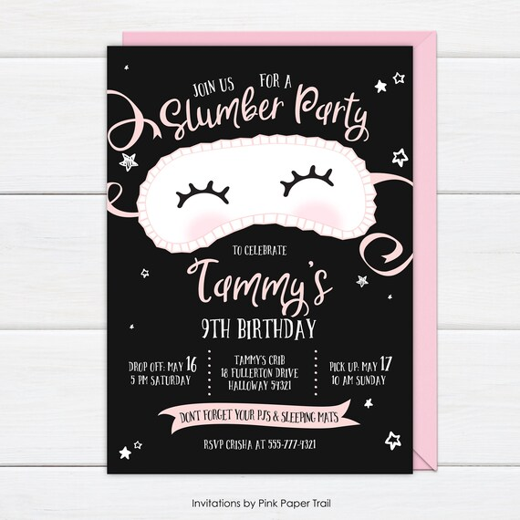 slumber party invitation sleepover