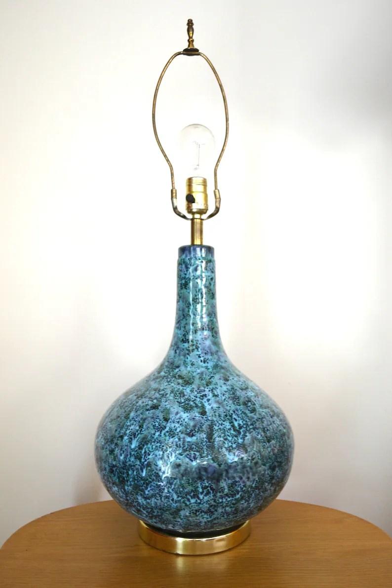 Mid Century Modern Blue Drip Glaze Ceramic Table Lamp