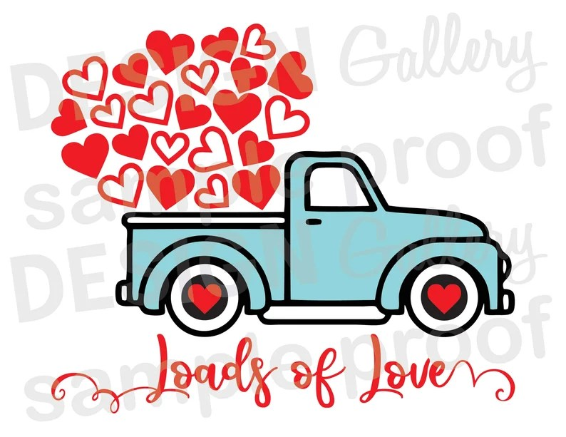 Download Loads of Love Truck Hearts JPG & SVG DXF cut file ...