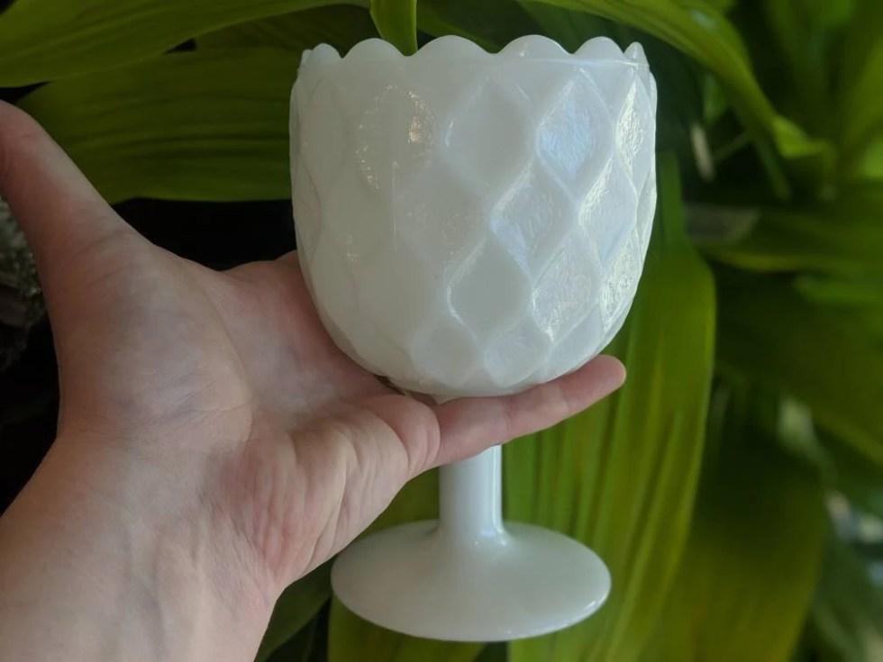 Vintage Milk Glass Pedest...
