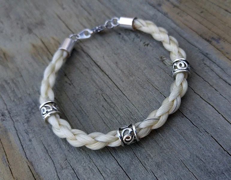 Horse Hair Bracelet With Beads Braided Horsehair Jewelry