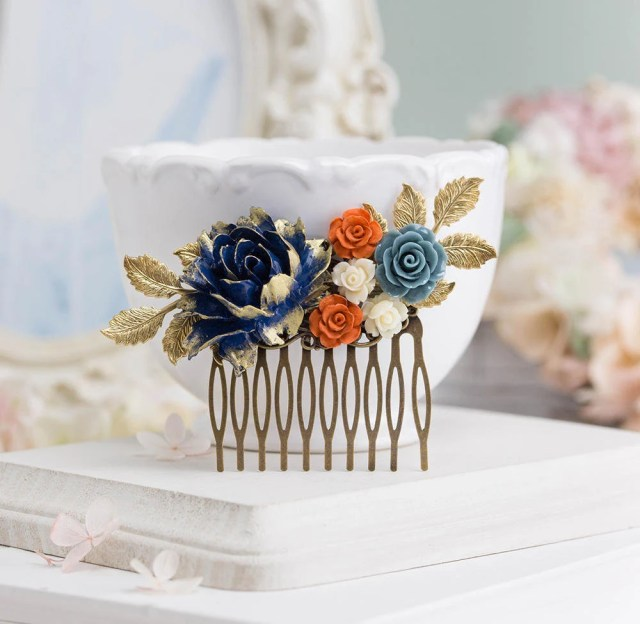 bridal hair comb, navy blue dusty blue burnt orange cream ivory wedding hair comb, gold leaf hair slide, floral bridal comb, vintage style