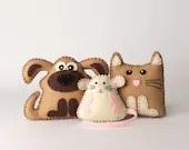 Kitten Sewing Pattern, Puppy Hand Sewing Pattern, Stuffed Mouse Pattern, Hand Sewing and Embroidery, Felt Plush Pets & Softies, PDF Download