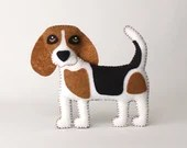 Beagle Sewing Pattern, Dog Hand Sewing Pattern, Sew a Felt Beagle, Stuffed Dog, Easy Dog Sewing Pattern, Gift for Beagle Lover, PDF Download