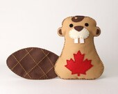 Beaver Sewing Pattern, Hand Sewing Felt Canadian Beaver Plush Toy, Instant Download PDF, Canada Animal, Beaver Craft Project, Sew by Hand