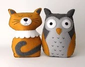 Felt Animal Sewing Patterns, The Owl and the Pussycat, Cat Hand Sewing Pattern, Felt Owl Plushie DIY, Easy Sewing Patterns for Soft Toys PDF