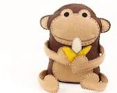 Felt Monkey Sewing Pattern, Hand Sewing Plush Monkey Softie, Instant Download PDF, Plush Monkey & Banana Stuffie Pattern, Stuffed Monkey